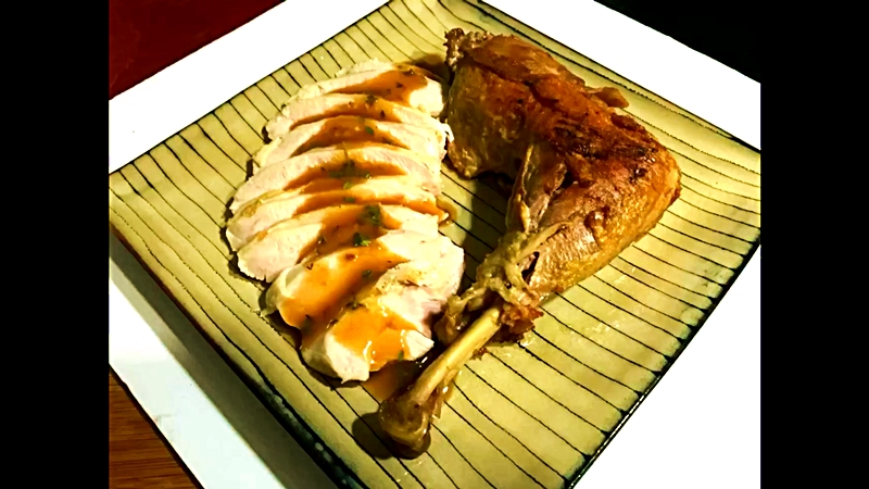 Turkey Thigh Confit in Bacon Fat with Dry Brined Breast Cooked SousVide